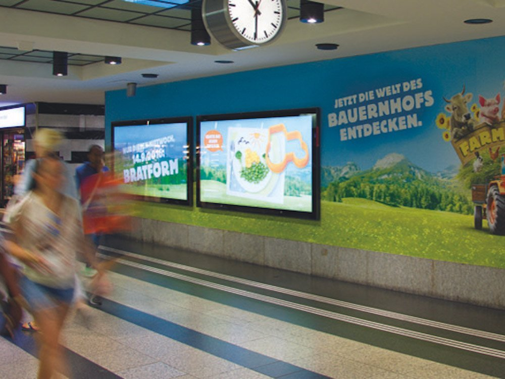 Neu installierte Branding Wall am Hauptbahnhof in Zürich (Foto: APG|SGA)