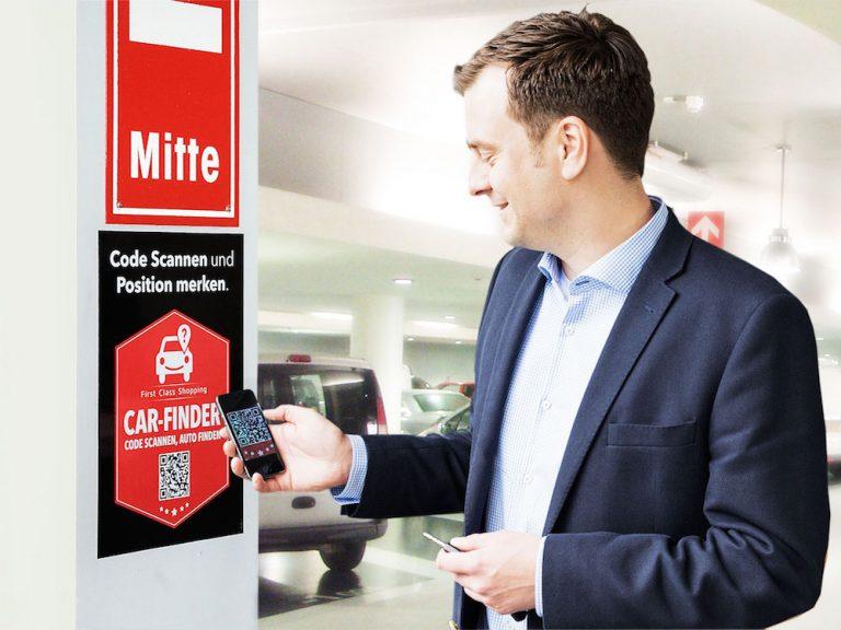 Car-Finder im Parkhaus einer Shopping Mall (Foto: ECE Future Labs)
