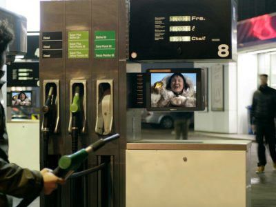 Screen von Salescreen an einer Schweizer Tankstelle (Screenshot: invidis)