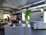 Work in Progress - Video Wall und Multitouch Tische in einem der Ausstellungsbereiche (Foto: HNF)