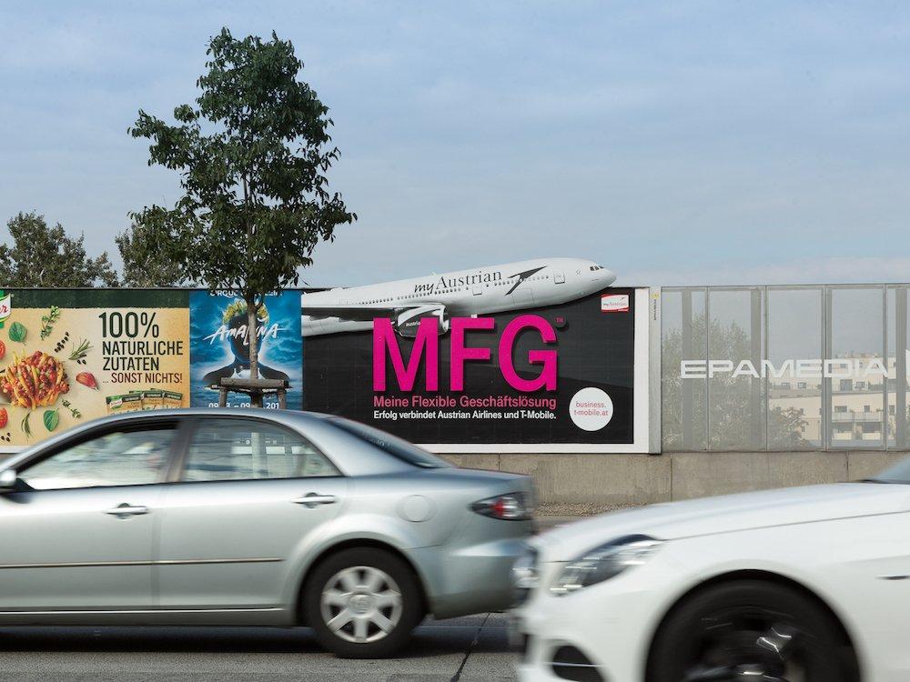 Aktuelle MFG Kampagne von T-Mobile in Österreich (Foto: Epamedia/ Katharina Schiffl)