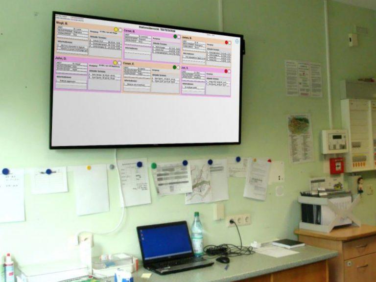 Am Pfalzklinikum ersetzen Screens die bislang analogen Whiteboards in den Stationszimmern (Foto: mirabyte)