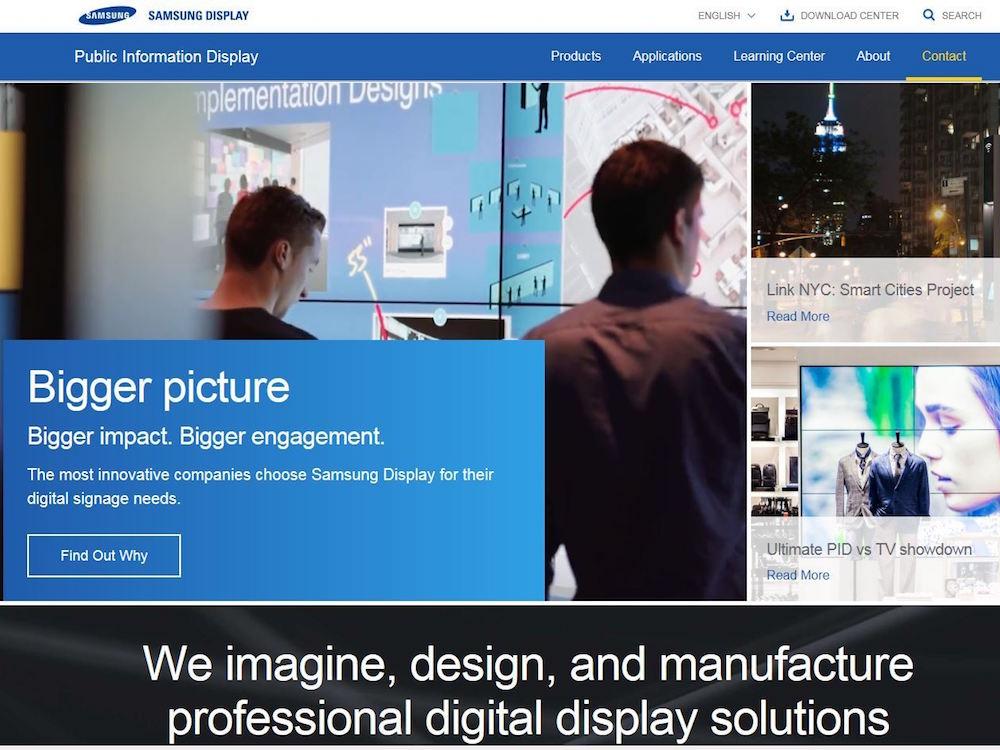 Samsung Displays neue PID Website (Foto: Samsung Display)