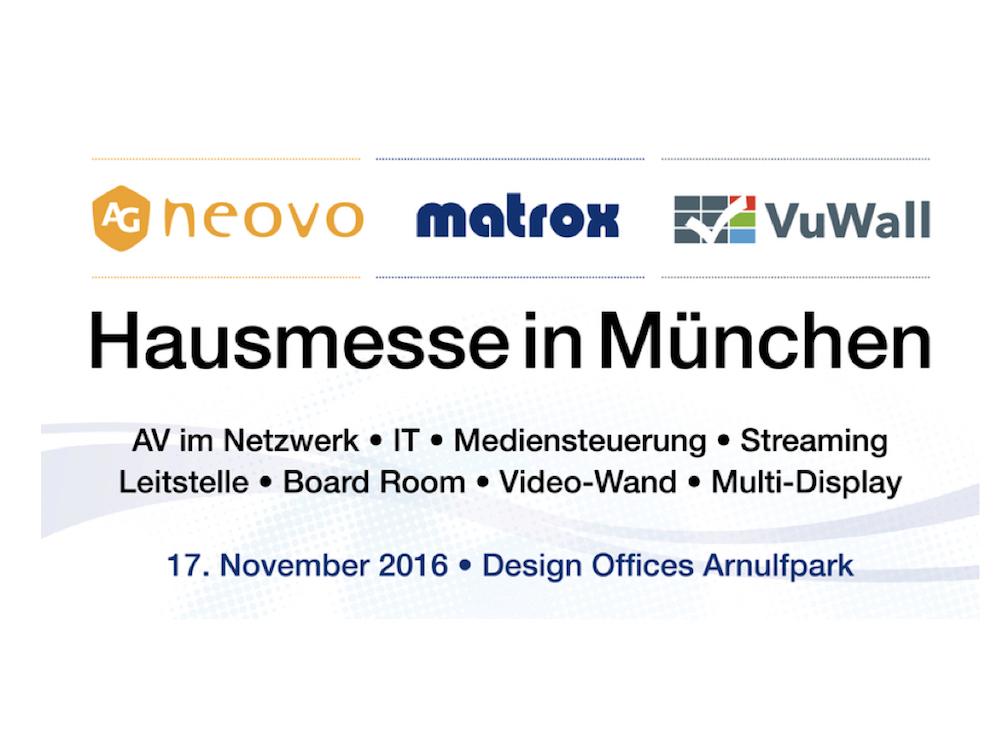 Die drei Hersteller AG Neovo, Matrox und VuWall veranstalten eine gemeinsame Hausmesse (Grafik: Matrox)