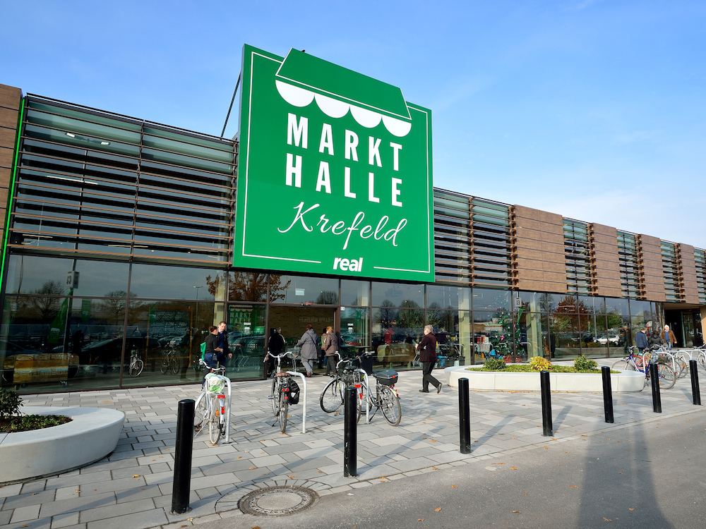 Die Markthalle Krefeld von Aussen (Foto: Real)