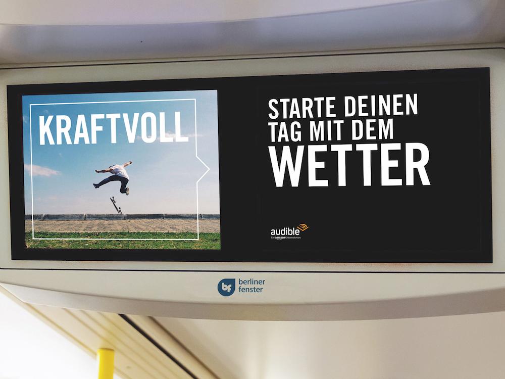 Screen des Berliner Fenster mit Wetter-Sponsoring von Audible (Foto: mc R&D)