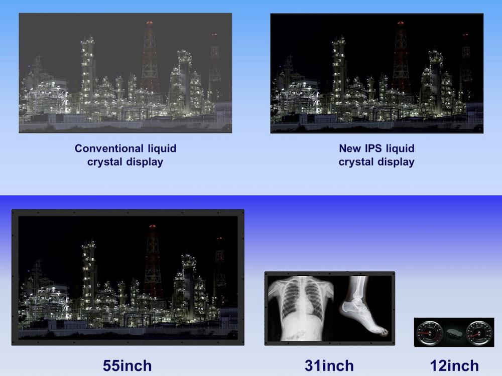 Vergleich bisheriger und neuer IPS Technologie, offenbar geplante Größen der Panels (Fotos, Grafiken: Panasonic)
