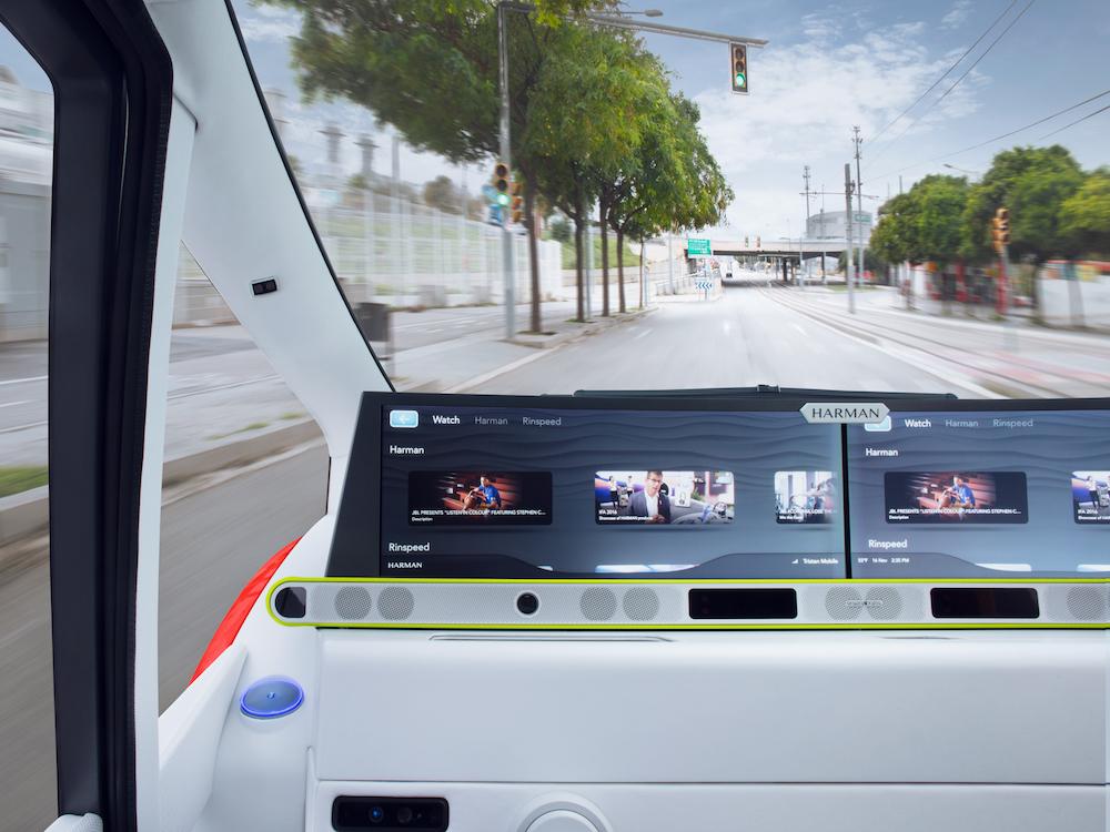 Blick in das Cockpit des Rinspeed Konzeptautos Oasis (Rendering: Rinspeed)