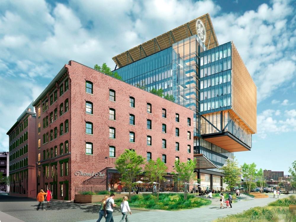 Geplantes neues HQ von GE in Boston (Rendering: Prysm)