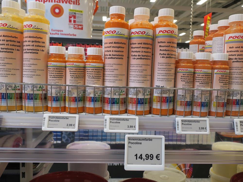 POCO setzt derzeit fünf verschieden große Electronic Shelf Labels ein (Foto: POCO)