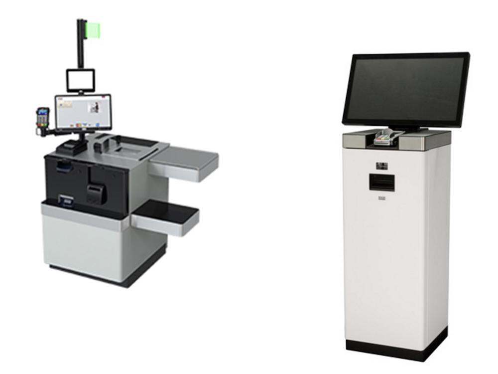 Von links: SCO Lösung BEETLE/iSCAN Hybrid und Kiosk K-one (Fotos: Diebold Nixdorf)