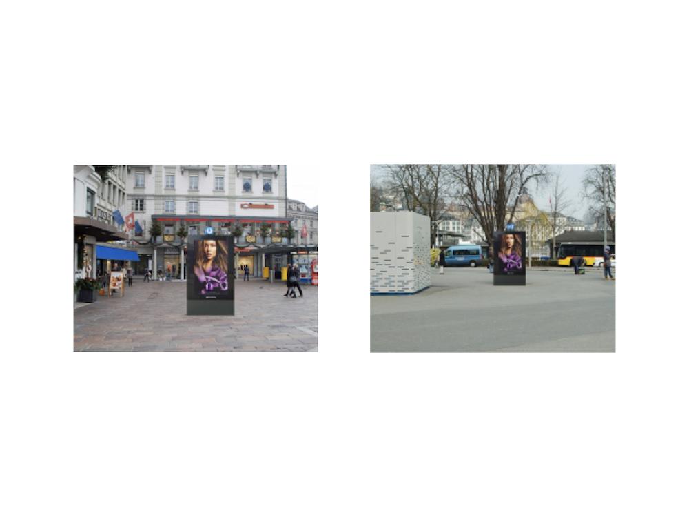 Standorte der beiden DooH Stelen in Luzern (Fotos: Clear Channel Schweiz)
