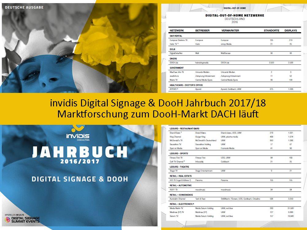 invidis Digital Signage und DooH Jahrbuch 2017/18: Marktforschung zum DooH-Markt DACH läuft