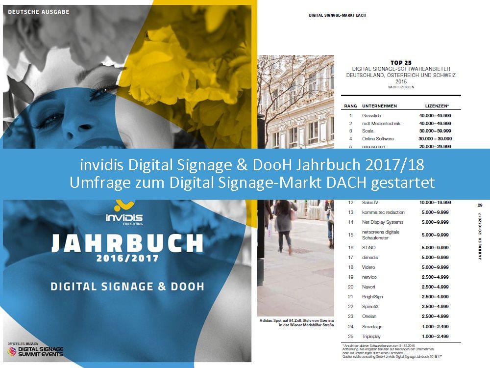 invidis Digital Signage und DooH Jahrbuch 2017/18: Umfrage zum Digital Signage-Markt DACH gestartet
