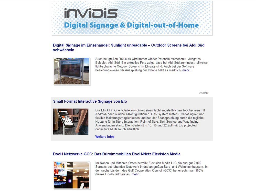 invidis Newsletter ab sofort mit neuen Funktionen