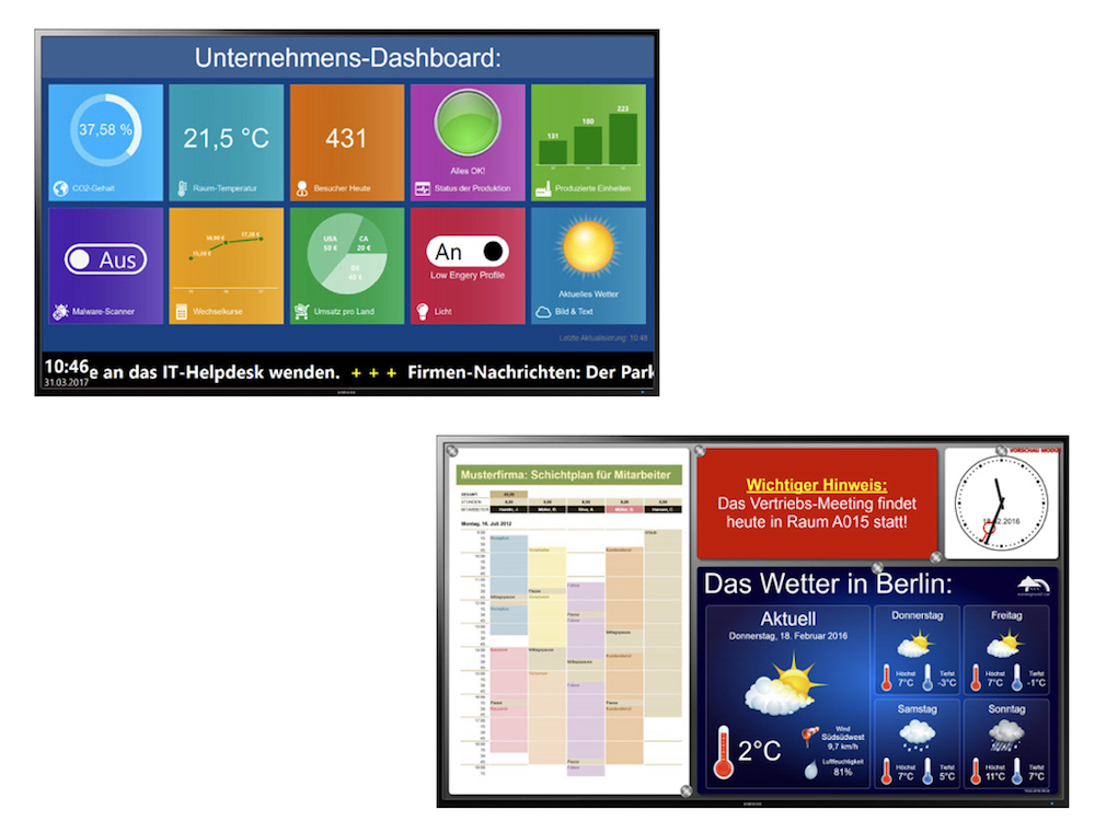 Beispiele für mit FrontFace erstellte Dashboards (Fotos: mirabyte)