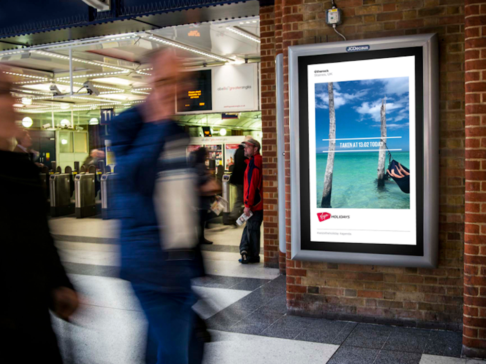 Wurde mit QDOT Technologie umgesetzt – DooH Kampagne für Virgin (Foto: Grand Visual)