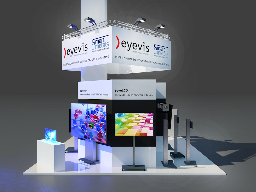Geplanter Messestand au der Prolight + Sound 2017 (Grafik: eyevis)