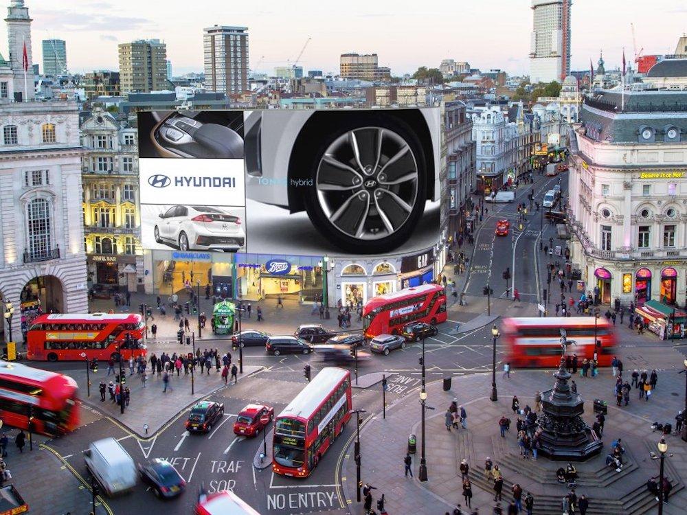 So könnte eine DooH Domination für Hyundai am Piccadilly ausschauen (Foto / Rendering: Ocean Outdoor)