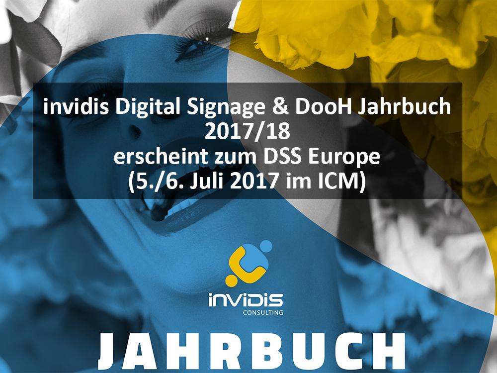 invidis Digital Sinage & DooH Jahrbuch 2017/18 wird im Juli 2017 veröffentlicht (Bild: invidis)
