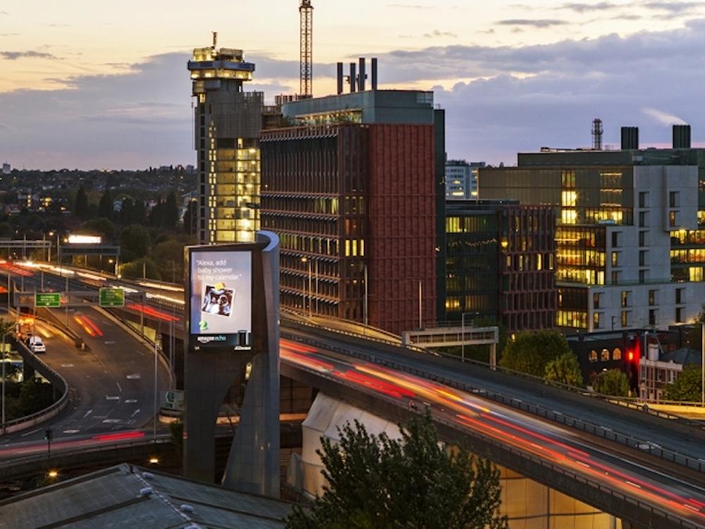 Der neue A40 Tower gehört zum Extra Large DooH Portfolio in UK (Foto: JCDecaux)
