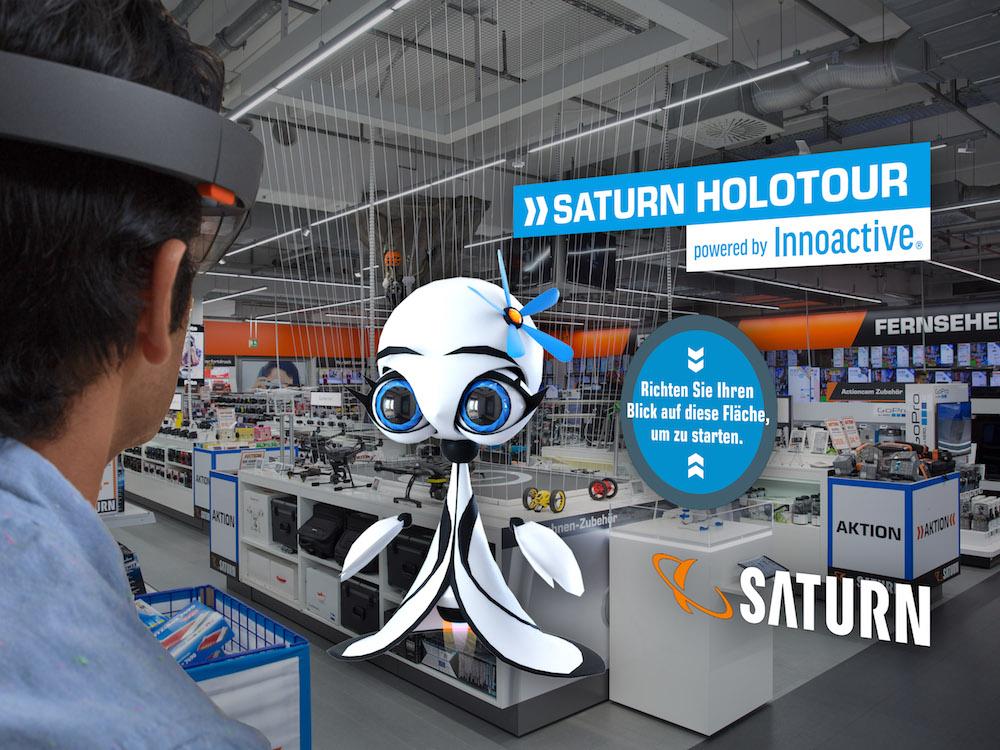 Der Avatar Paula informiert die Kunden und leitet sie durch den Markt (Foto / Grafik: Saturn)