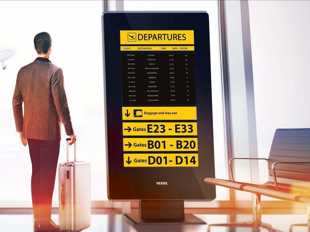 Digital Signage Screen von Vestel für Airports –Symbolbild (Foto: Vestel)