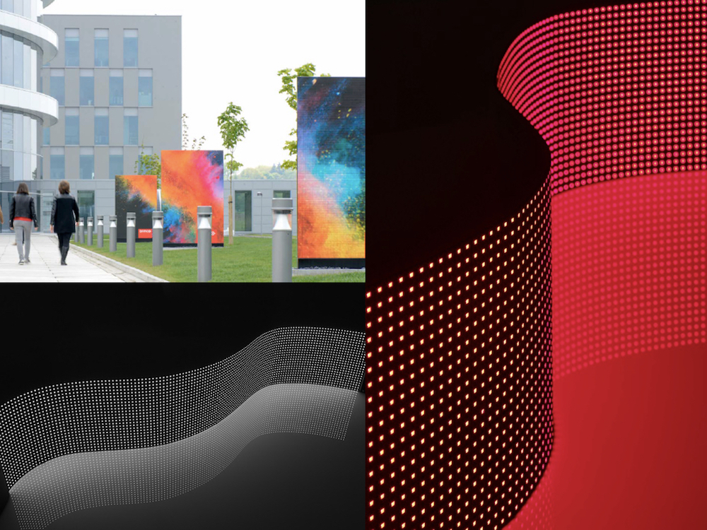 Von links: LED Signage vor dem Barco Campus LED Canvas mit 10 mm Pixel Pitch (Fotos: Barco)