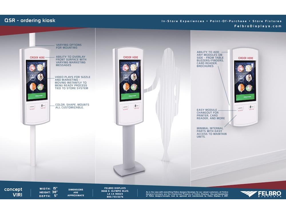 Wird in dieser Woche vorgestellt – neues QSR Order Kiosk (Grafik: Felbro Displays)