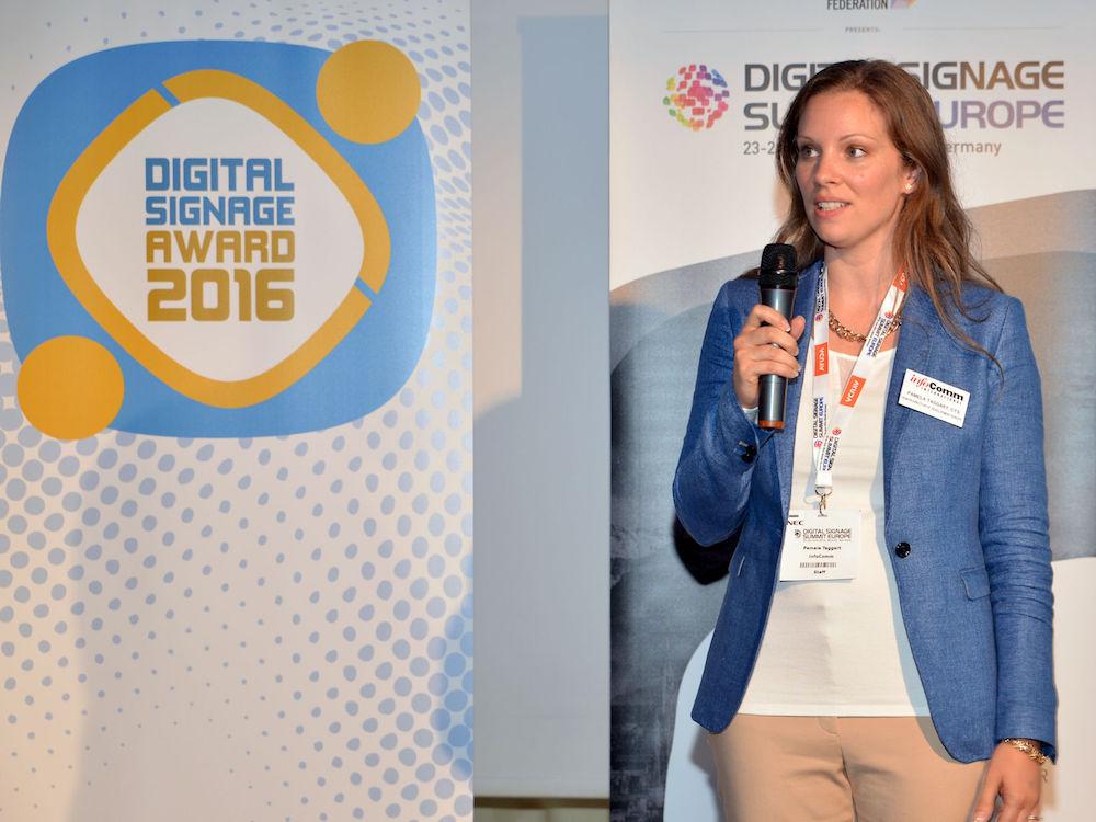 Pam Taggart von InfoComm beim DSS Europe Evening Event 2016 (Foto: InfoComm)