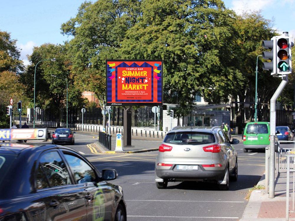 Geplanter erster LED Roadside Screen in Dublin (Foto / Rendering: JCDecaux)