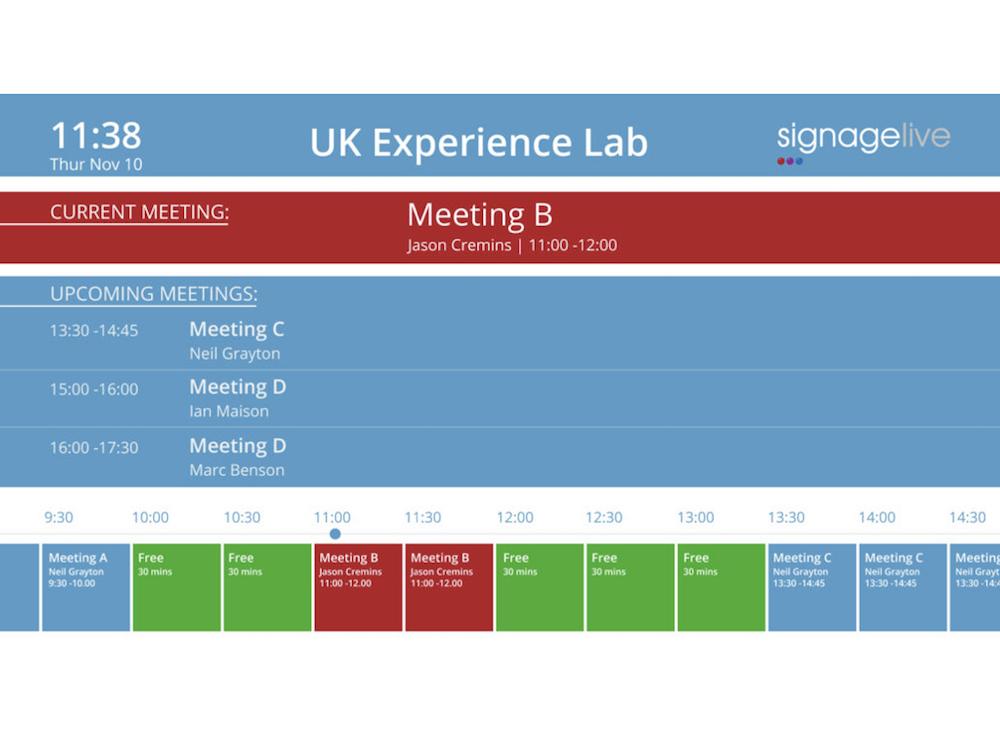 Via Signagelive können die Nutzer umfangreiche Raumbuchungs-Optionen nutzen (Grafik: Signagelive)