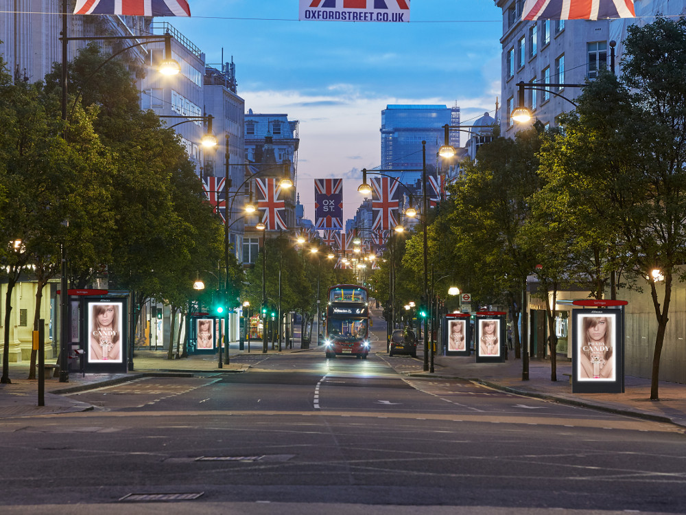 JCD Screens entlang Londons Oxford Street (Foto: JC Decaux)