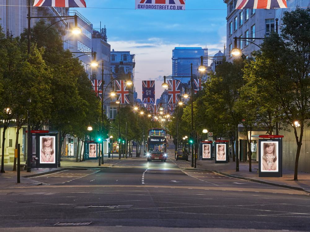 JCD Screens entlang Londons Oxford Street (Foto: JC Decaux)