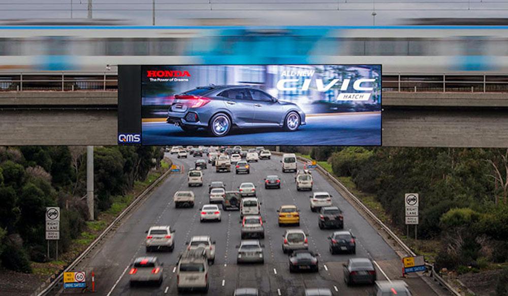 Auch der Werbungtreibende Honda nutzte die neuen Daktronics-Screens in Melbourne – hier für eine Kampagne für den Civic (Foto: Daktronics)