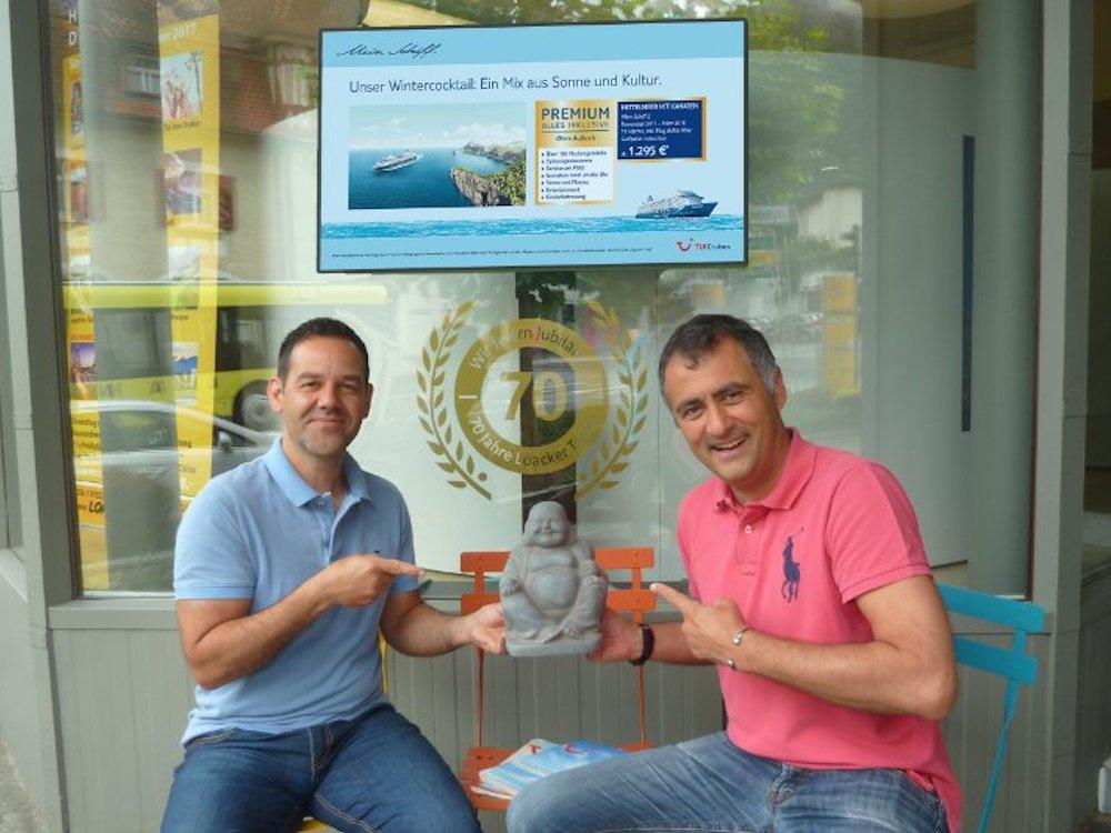 Das Reisebüro Loacker in Götzis setzt nun auf die digitale Ansprache via Display (Foto: Oruvision)