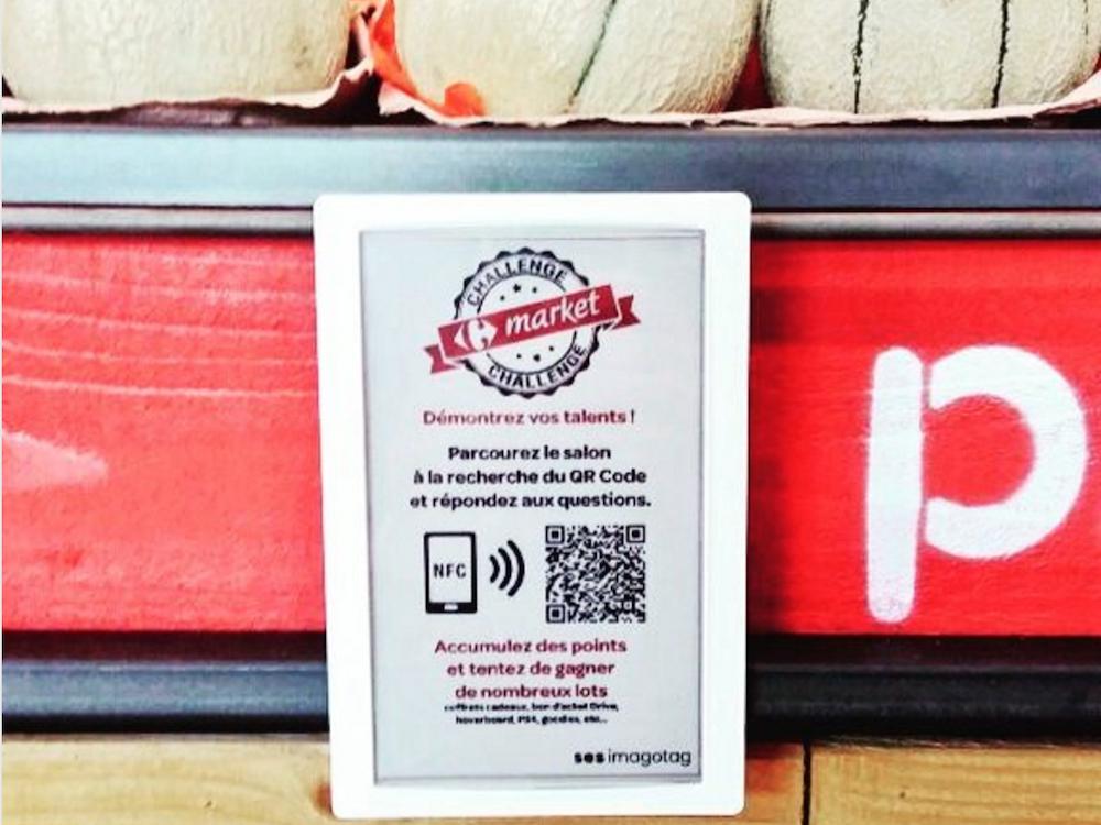 Electronic Shelf Label im Gamification-Einsatz in einem Carrefour in Lyon (Foto: SES-imagotag)