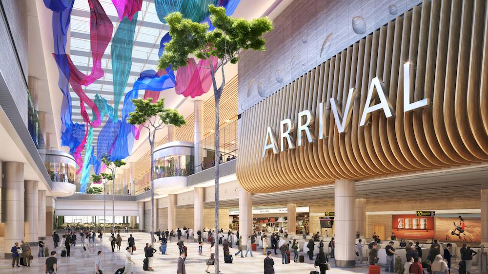Ankunftshalle des neuen T4 wird so aussehen (Foto / Rendering: Changi Airport Group)