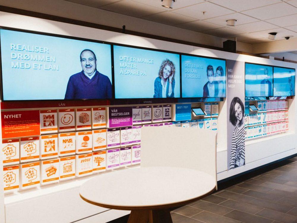 Norwegens größte Bank DNB setzt seit Jahren auf Digital Signage sowie Instore Radio (Foto: Liveqube)