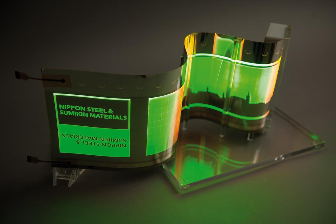 OLED auf einem Substrat aus Edelstahl (Foto: Fraunhofer FEP)