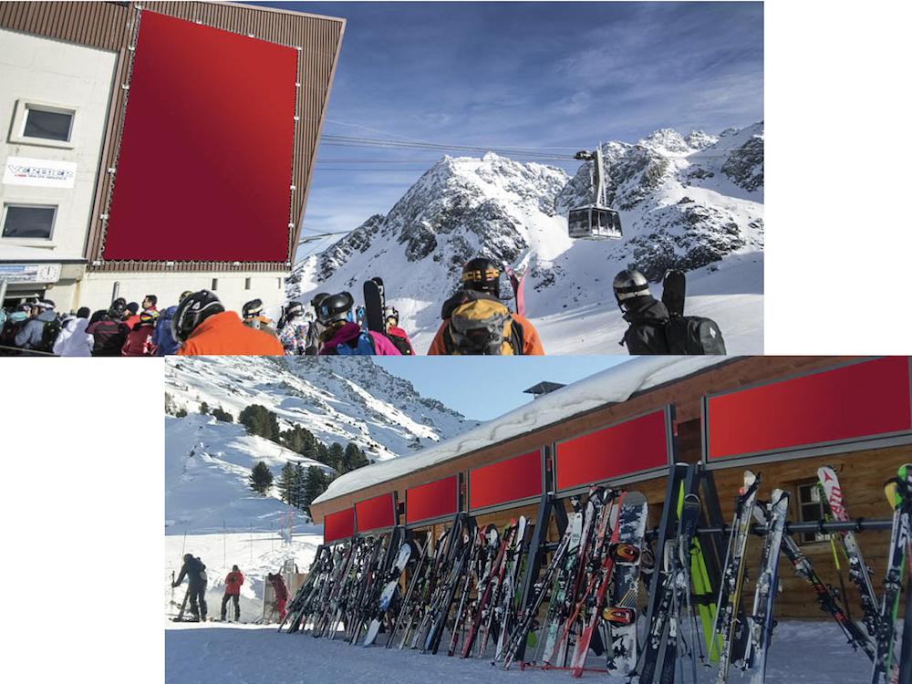 Von APG|SGA Mountain vermarktete Werbeplätze in den Schweizer Alpen (Fotos: APG|SGA)