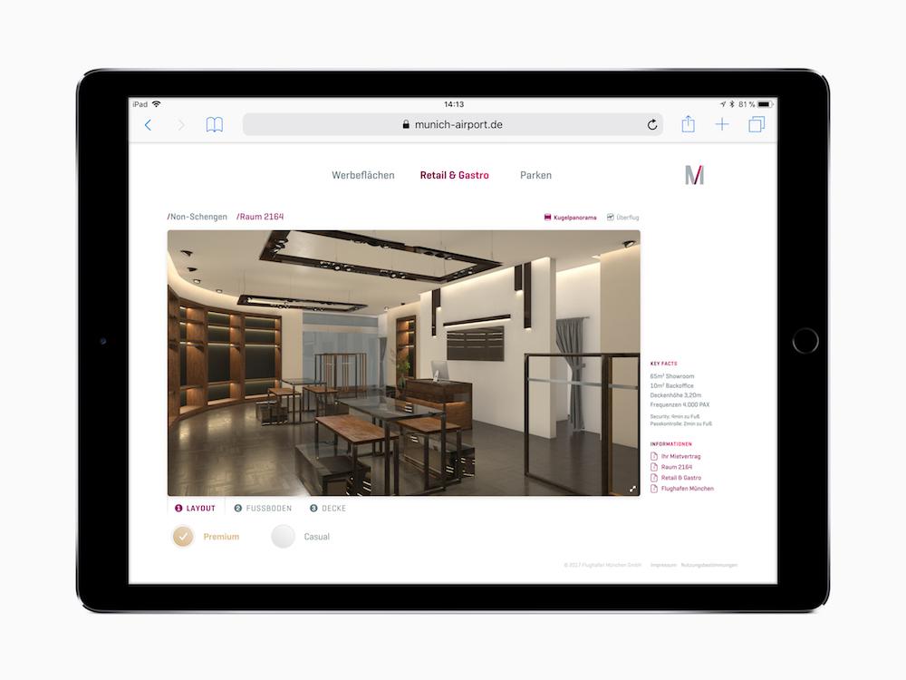 Das Online-Tool kombiniert Realaufnahmen mit virtuellen Bildern und Bewegtbildern (Foto: Flughafen München)