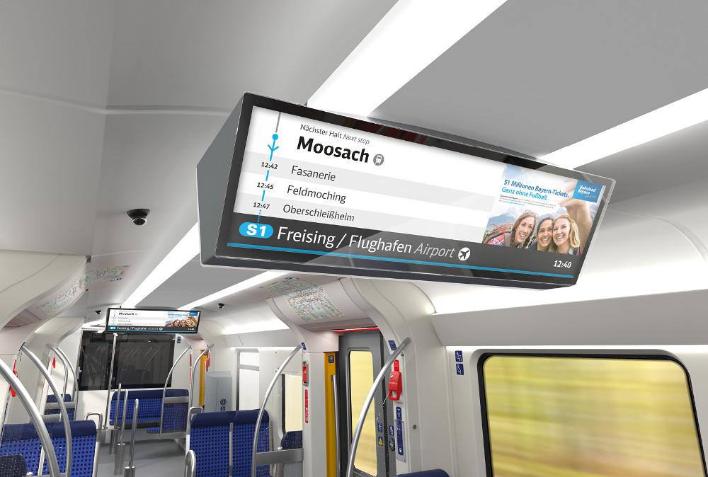 S-Bahn München mit neuen Stretched Displays(Foto: Neomind/BEG) Neu