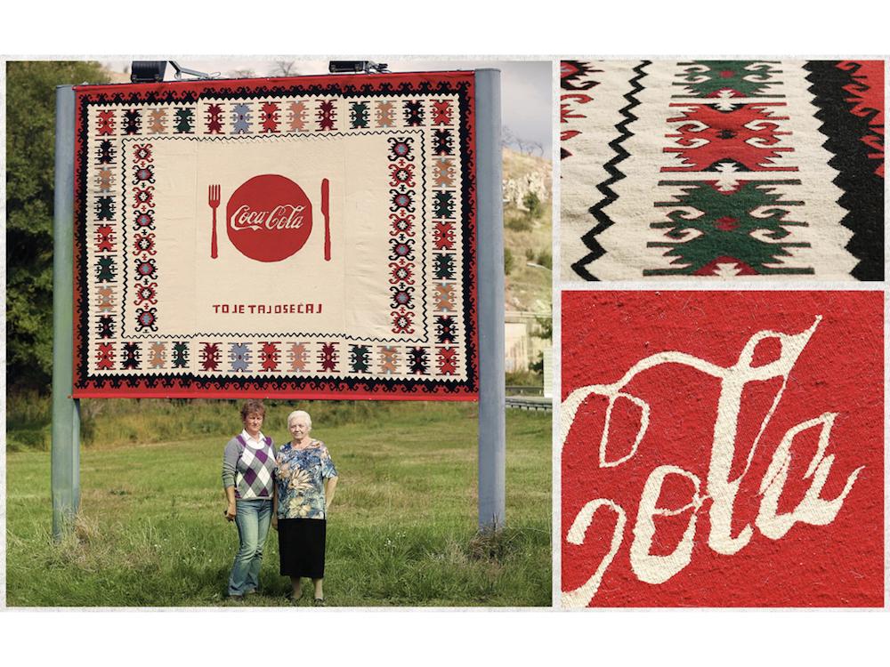Fertiges Coke-Plakat und Details der Arbeit (Fotos: McCann Beograd)