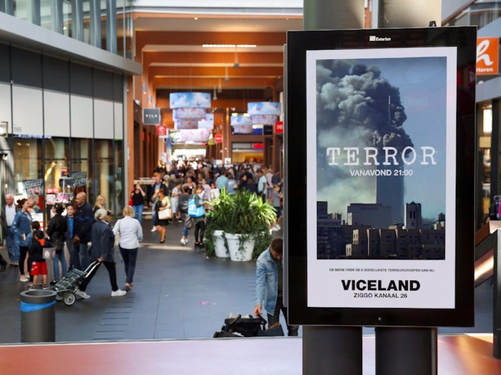 """Kampagne für """"Terror"""" auf einem DooH Screen von Exterion (Foto: Exterion Media)"""