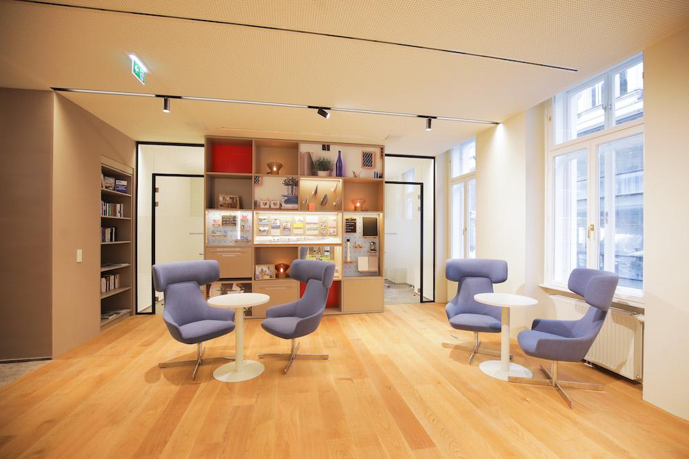 Lounge-Bereich im neuen Wiener Flagship der Erste Bank (Foto: Erste Bank / Hinterramskogler)