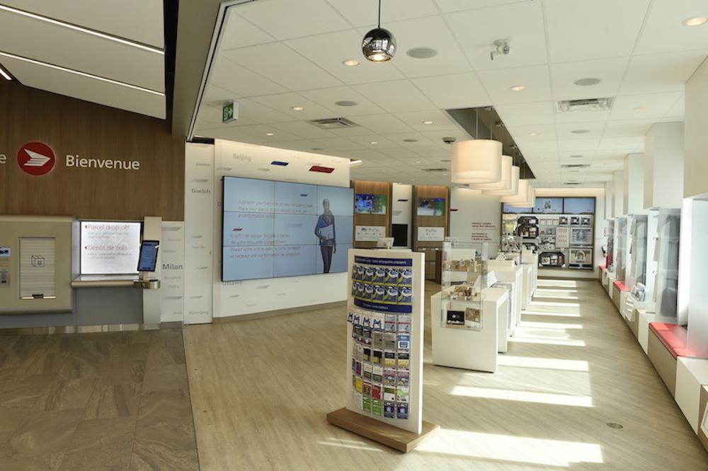 Video Wall in einem Concept Store von Canada Post (Foto: Canada Post)