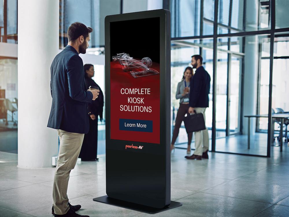 Das Kiosk System KIPICT55 wird mit Media Player und Software von BrightSign geliefert (Foto: Peerless-AV)