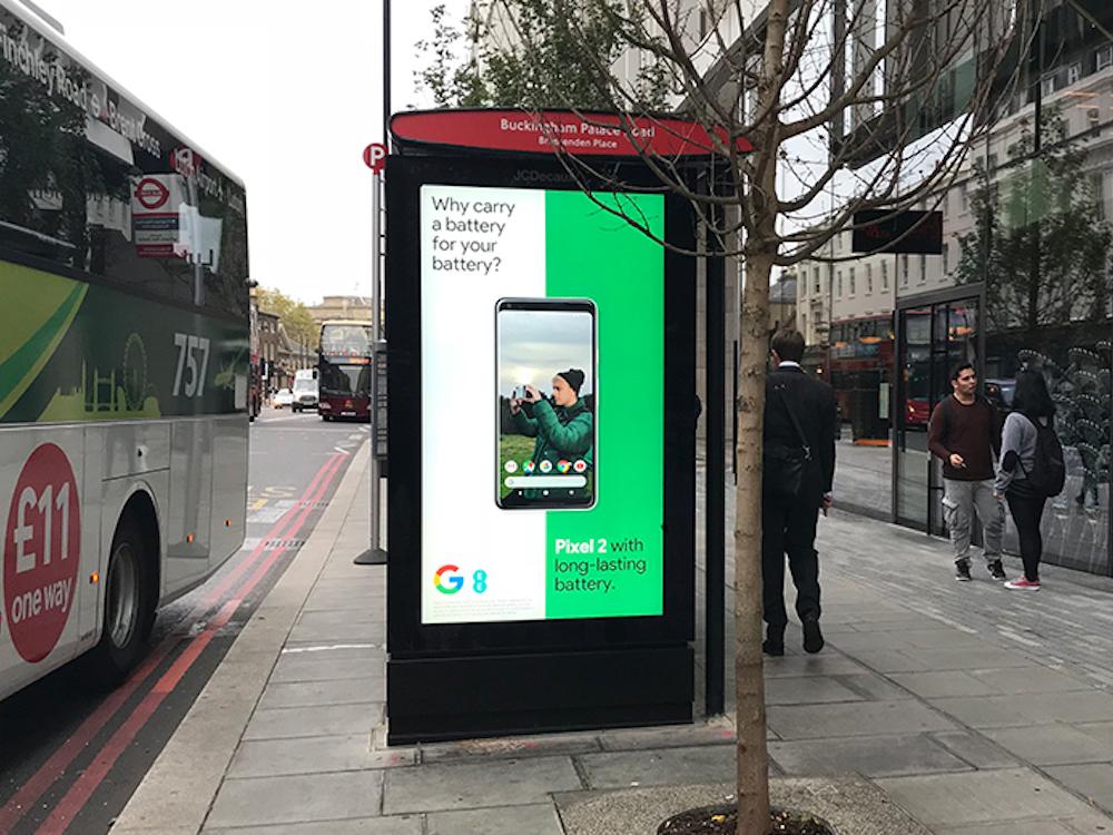 DooH-Kampagne fuür das Pixel 2 in Großbritannien (Foto: Grand Visual)