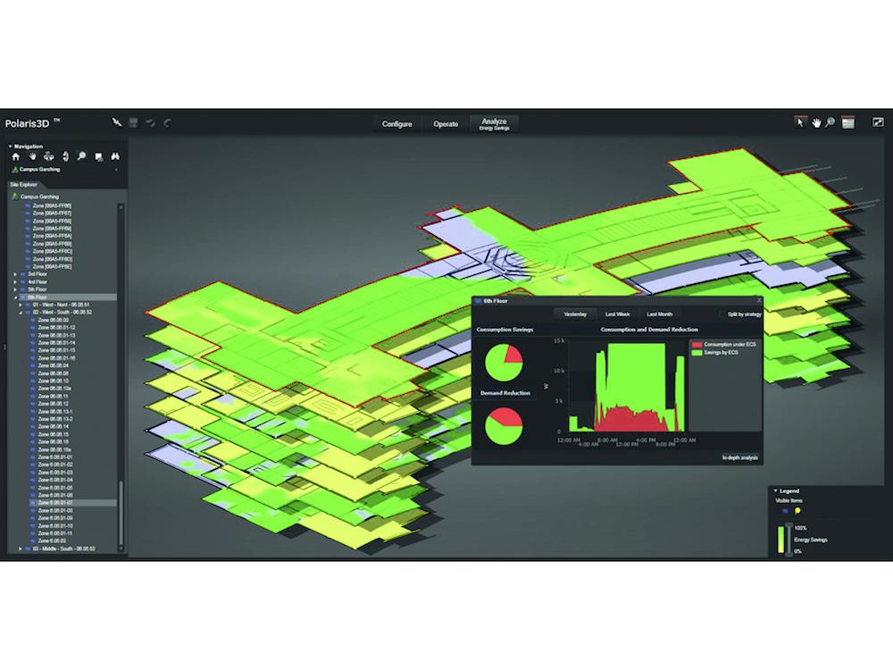 Die internetbasierte Applikation Polaris 3D bietet eine interaktive dreidimensionale Ansicht eines Gebäudes oder einer Anlage in Echtzeit (Grafik: Osram)